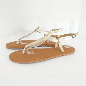 Universal Thread T-Strap Sandals Gold Color Size 8
